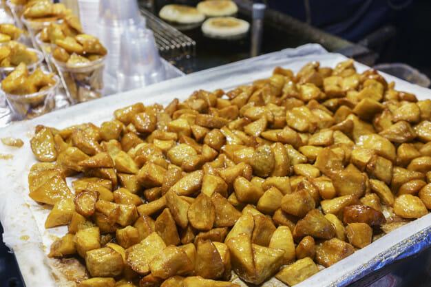 myeongdong street food south korea shopping korean shopping korean food sweet potatoes candied sweet potatoes