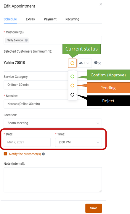 How can I change the session time or reject (cancel) a session? 2